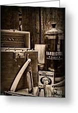 Barber - Vintage Barber Tools - Black And White Greeting Card