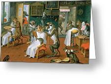 Barbers Shop With Monkeys And Cats Oil On Copper Greeting Card