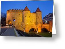 Barbican At Night In The Old Town Of Warsaw Greeting Card