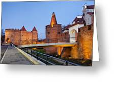 Barbican In The Old Town Of Warsaw Greeting Card