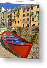 Barca Rossa A Rio Maggiore Greeting Card