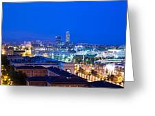 Barcelona And Its Skyline At Night Greeting Card