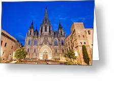 Barcelona Cathedral At Night Greeting Card