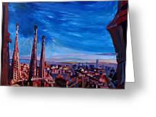 Barcelona City View And Sagrada Familia Greeting Card