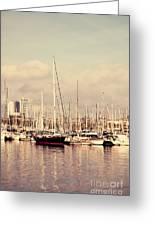 Barcelona Harbor - Vertical Greeting Card