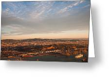 Barcelona On Sunrise. Aerial View Greeting Card