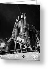 barcelona open topped bus city tour going past Sagrada Familia Barcelona Catalonia Spain Greeting Card