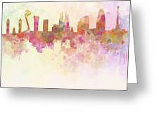 Barcelona Skyline In Watercolour Background  Greeting Card