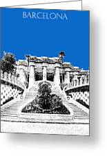 Barcelona Skyline Park Guell - Blue Greeting Card
