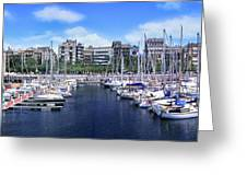Barcelona Spain Port Vell Marina 3 Greeting Card