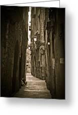 Barcelona Street Greeting Card by Mesha Zelkovich