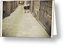 Barcelona Street Greeting Card by Victoria Herrera
