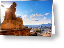 Barcelona View From Catalunya National Museum Of Art Greeting Card
