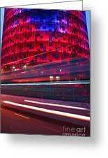 Barcelona's Agbar Tower With Touristic Bus Greeting Card