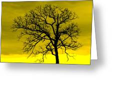 Bare Tree Against Yellow Background E88 Greeting Card