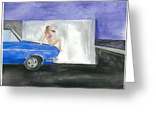 barefoot girl sittin' on the hood of a Dodge Greeting Card by Jeremiah Iannacci