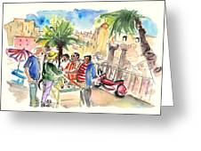 Bargaining Tourists In Siracusa Greeting Card