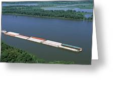 Barge In A River, Mississippi River Greeting Card