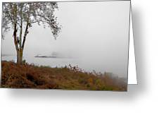 Barge In Fog On Ohio River Greeting Card