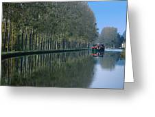 Barge On Burgandy Canal Greeting Card
