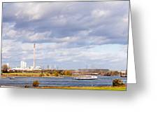 Barges On River Rhine At Duisburg Germany Europe Greeting Card