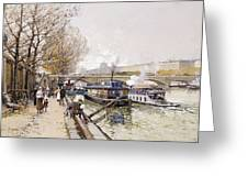 Barges On The Seine Greeting Card by Eugene Galien-Laloue
