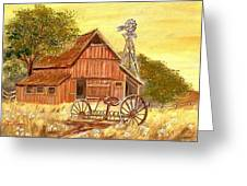 Barn  -  Windmill  -  Old Rake Greeting Card by Kenneth  LePoidevin