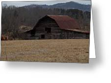 Barn Across The Field Greeting Card