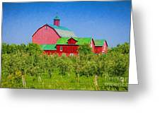 Barn And Apple Orchard Greeting Card