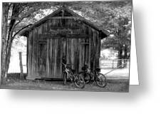 Barn And Bikes Greeting Card by Paulette Maffucci