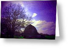 Barn And Oak Digital Painting Greeting Card