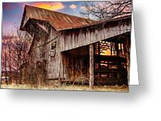 Barn At Sunset Greeting Card