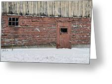 Barn Door In Winter Greeting Card