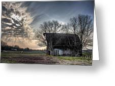 Barn In A Field With A Horse Greeting Card
