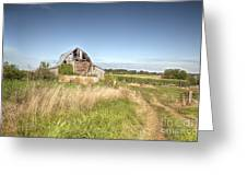 Barn In A Field With Hay Bales Greeting Card