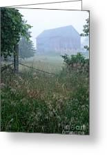 Barn In Fog Greeting Card