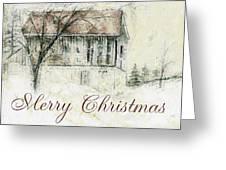 Barn In Snow Christmas Card Greeting Card
