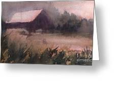 Barn In The Fog Greeting Card