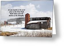 Barn In Winter With Psalm Scripture Greeting Card