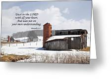 Barn In Winter With Scripture Greeting Card