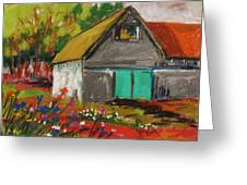 Barn Off From The Garden Greeting Card