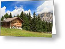 barn on Alpine pasture Greeting Card