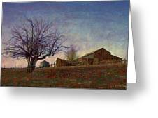 Barn On The Hill - Big Sky Greeting Card