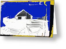 Barn Snow Storm Rc Guss Photo 1951 Collage St. Paul Park Minnesota Color Drawing Added Greeting Card