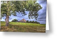 Barn Under A Tree. Greeting Card