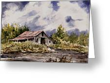 Barn Under Puffy Clouds Greeting Card