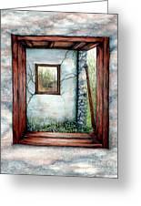 Barn Window Peering Through Time Greeting Card by Janine Riley