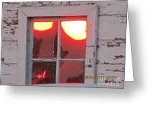 Barn Window Sunset Up Close Greeting Card