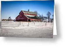 Barn With Melting Snow Greeting Card