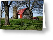 Barn With Silo In Springtime Greeting Card
